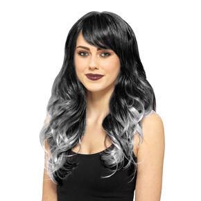 Perruque de cheveux longs noirs et gris,