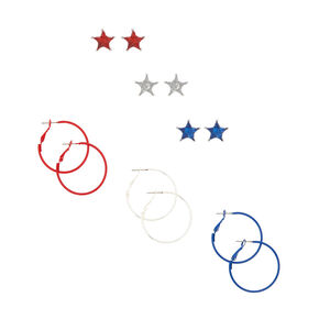 Red, Silver, & Blue Earrings Set - 6 Pack,