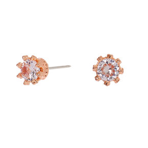 Rose Gold Cubic Zirconia Round Crown Stud Earrings - 3MM,