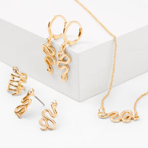 Gold Textured Snake Jewellery Set - 4 Pack,