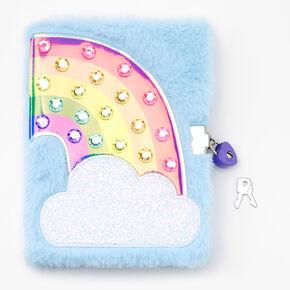 Sparkle Rainbow Plush Lock Diary - Blue,