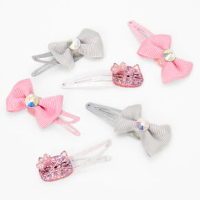 Claire's Club Kitty Cat Bow Snap Hair Clips - 6 Pack,