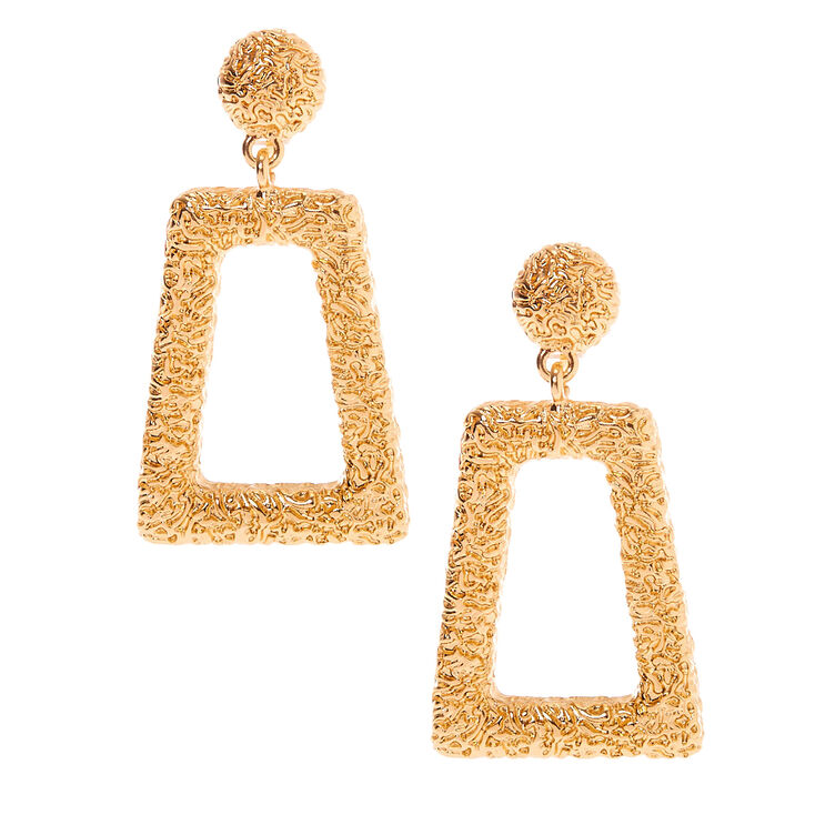 """Gold 2"""" Rectangle Textured Clip On Drop Earrings,"""
