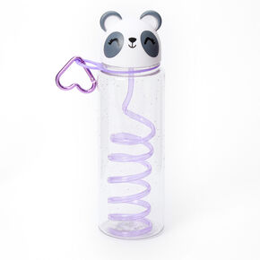 Poppy the Panda Water Bottle with Swirly Straw - White,