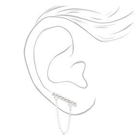 Bijoux d'oreilles barres avec strass couleur argentée,