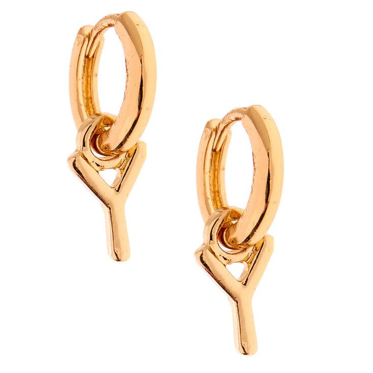Boucles d'oreilles huggies à initiale 10mm couleur dorée - Y,
