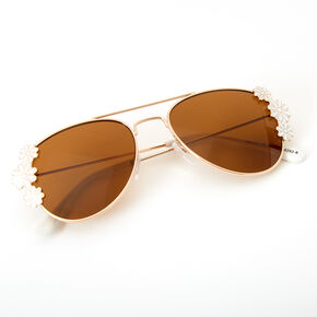 Claire's Club Floral Aviator Sunglasses,