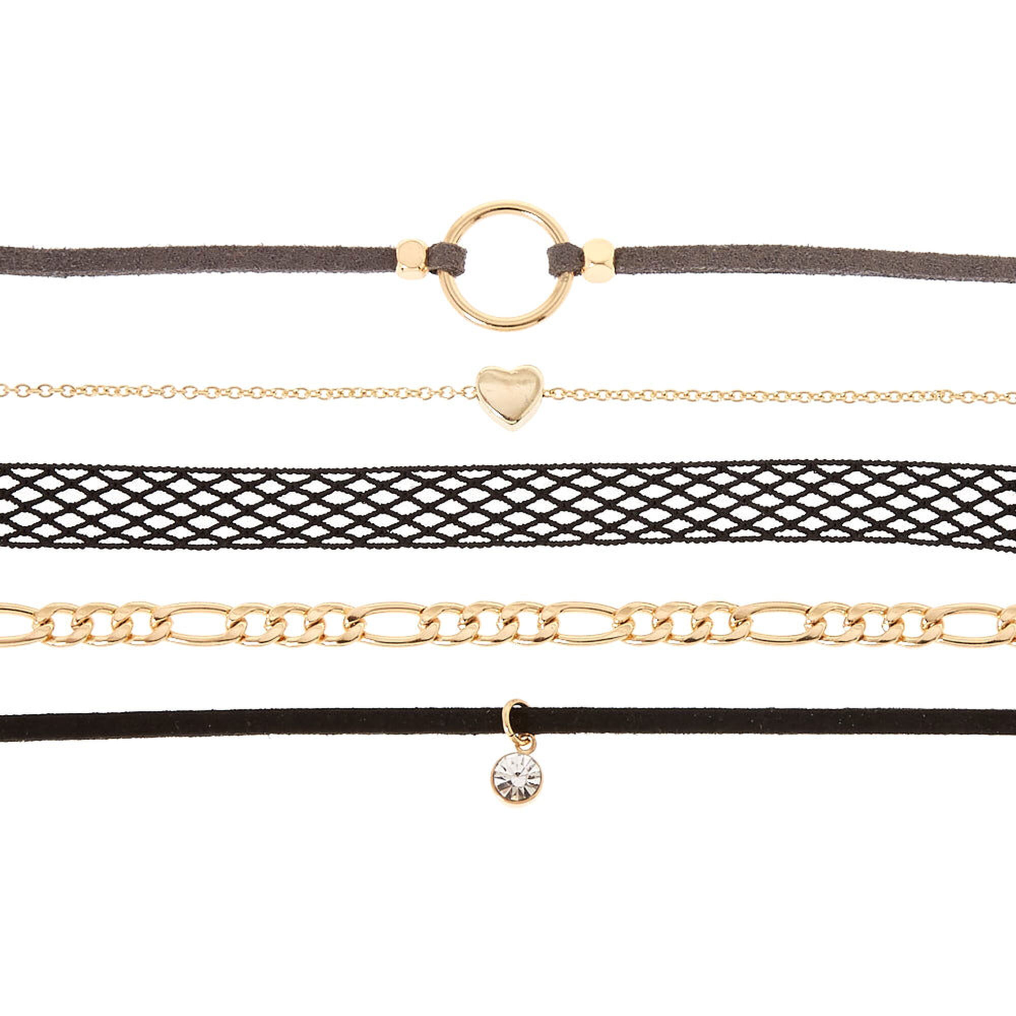 496cbc8759930 Gold Mixed Media Choker Necklaces - Black, 5 Pack