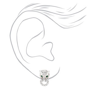Silver Embellished Jaguar Door Knocker Stud Earrings,