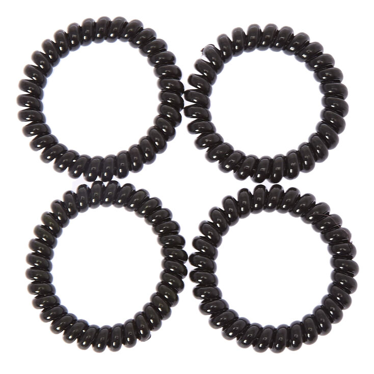 Spiral Hair Bobbles - Black, 4 Pack,