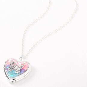 Collier à pendentif avec médaillon cœur et papillon arc-en-ciel couleur argentée,