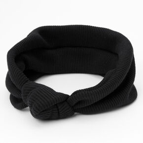 Ribbed Knotted Headwrap - Black,