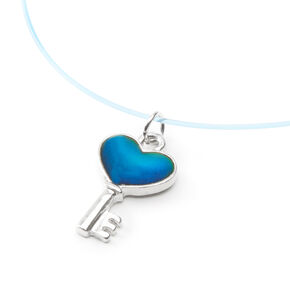 Mood Heart Key Illusion Pendant Necklace,