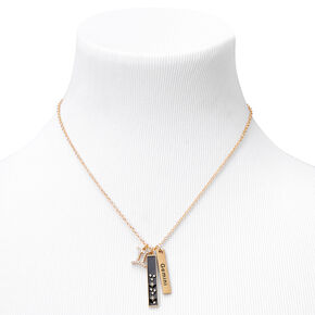 Gold Rectangular Zodiac Pendant Necklace - Gemini,