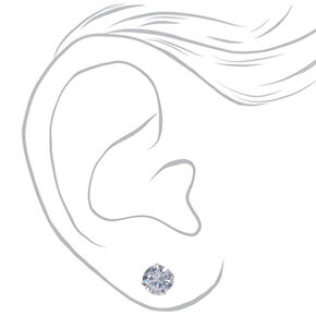 Silver Cubic Zirconia 8MM Round Stud Earrings,