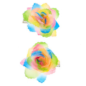 Rainbow Ombre Flower Hair Clips - 2 Pack,