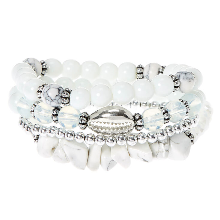 Howlite Bead Stretch Bracelets - White, 4 Pack,
