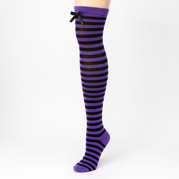 Striped Over The Knee Socks - Purple,