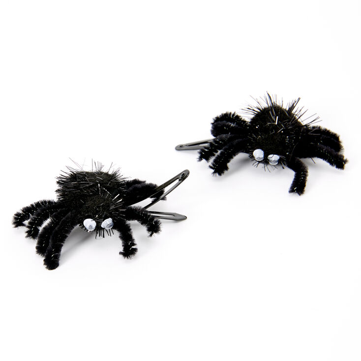 Fuzzy Spider Snap Hair Clips - Black, 2 Pack,