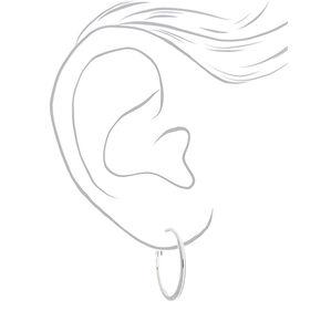 Silver 30MM Glitter Hoop Earrings,
