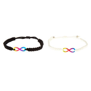 Rainbow Infinity Adjustable Friendship Bracelets - 2 Pack,