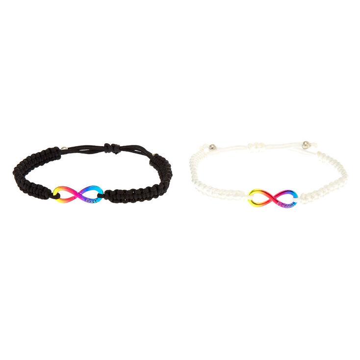 Lot de bracelets best friends symbole de l'infini arc-en-ciel,