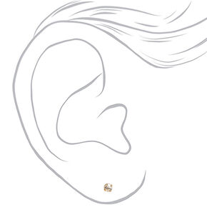 Gold 4MM Crystal Stud Earrings - 6 Pack,