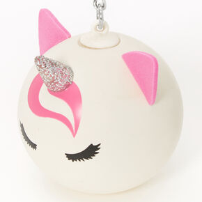 Pink & White Unicorn Stress Ball Keychain,