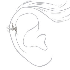 Silver Embellished Lightning Bolt Ear Cuff,