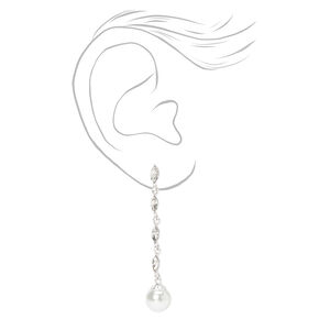 """Silver 2"""" Crystal and Pearl Linear Drop Earrings,"""