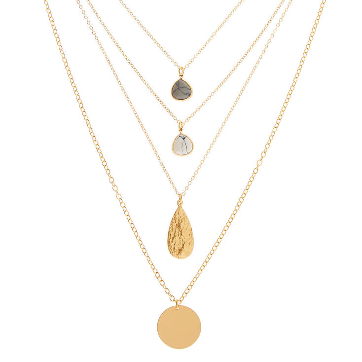 Gold Marble Coin Multi Strand Necklace,