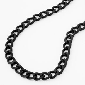Rubber Chunky Chain Necklace - Black,