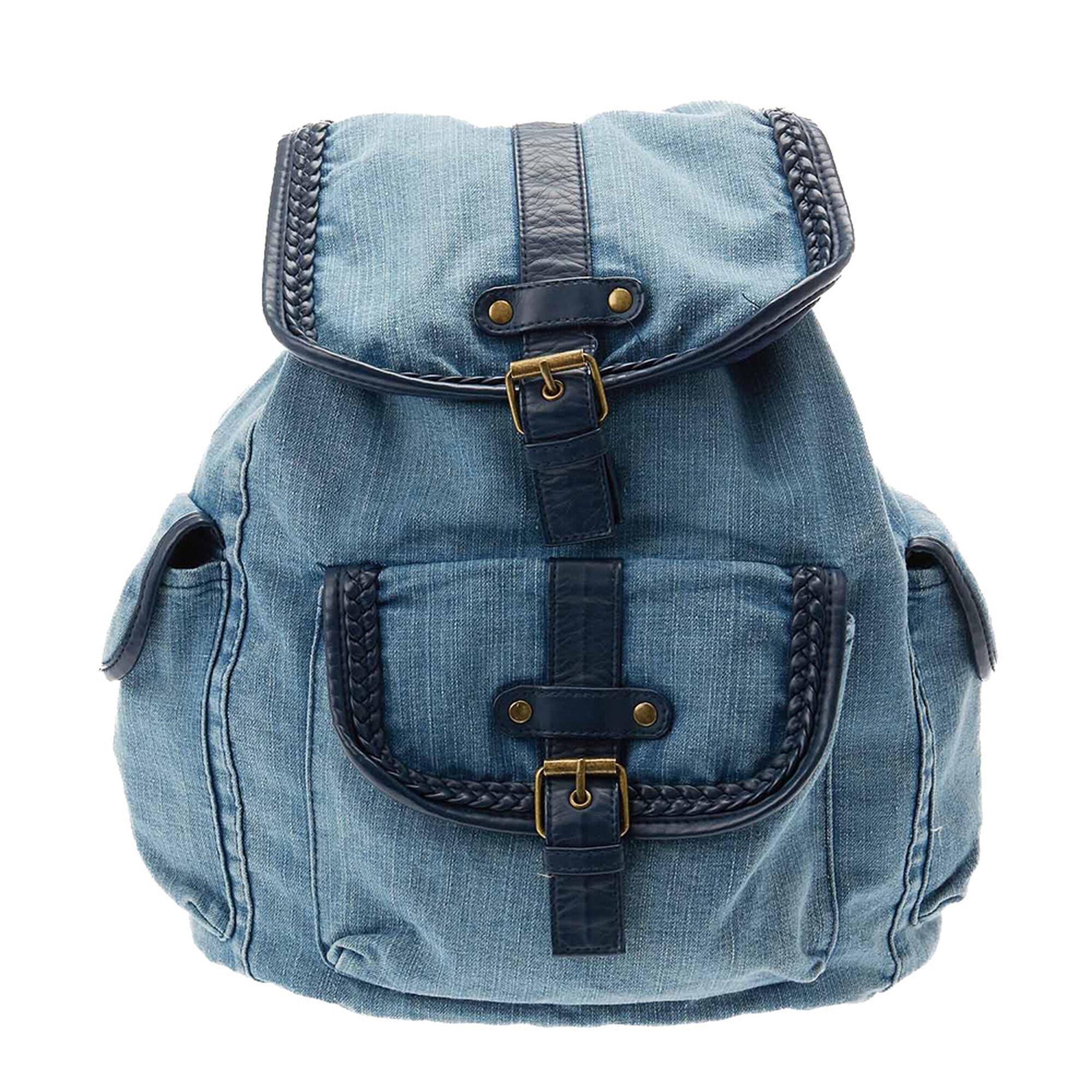 washed blue denim backpack claire 39 s us. Black Bedroom Furniture Sets. Home Design Ideas