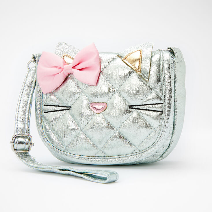 Claire's Club Metallic Quilted Cat Crossbody Bag - Mint,
