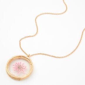 Long collier à pendentif fleur encadrée couleur dorée - Rose,