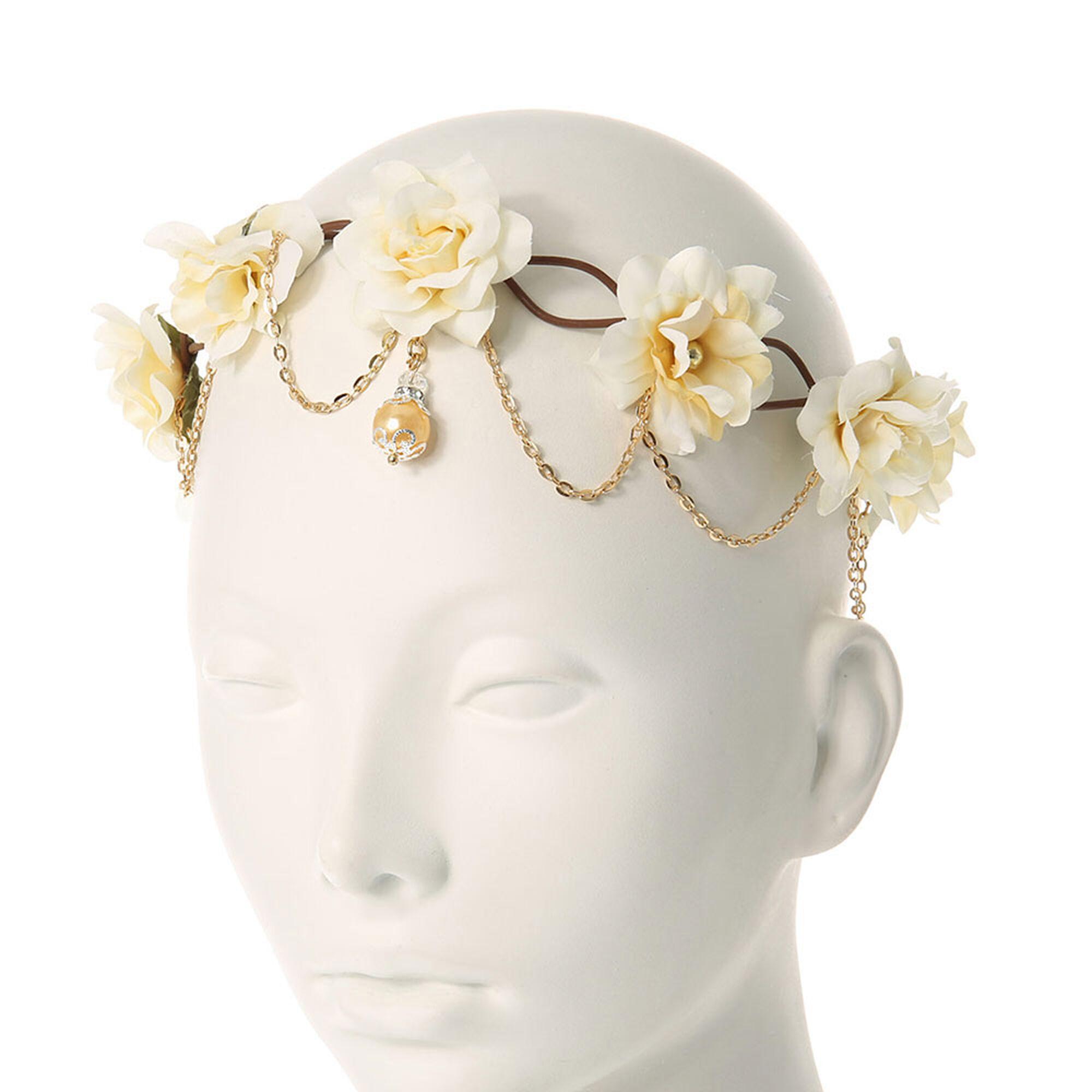 Cream flower crown headwrap claires cream flower crown headwrap izmirmasajfo