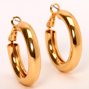 Gold 30MM Tube Hoop Earrings,
