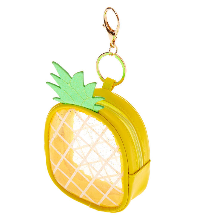Clear Pineapple Pouch Keychain - Yellow,
