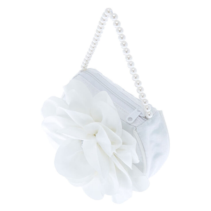 Claire's Club Pearl Floral Clutch Bag - White,