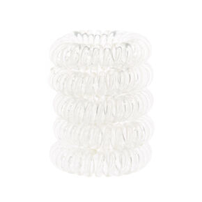 Mini Spiral Hair Bobbles - Clear, 5 Pack,