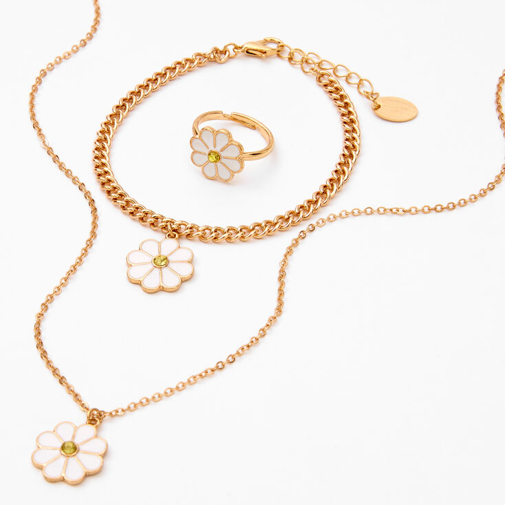 Gold Daisy Flower Jewelry Gift Set - 3 Pack,