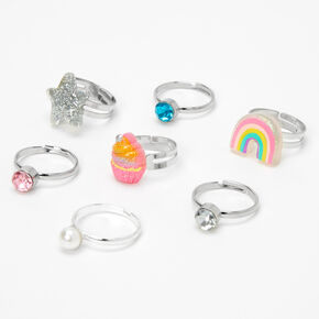 Claire's Club Star Box Rings - Pink, 7 Pack,