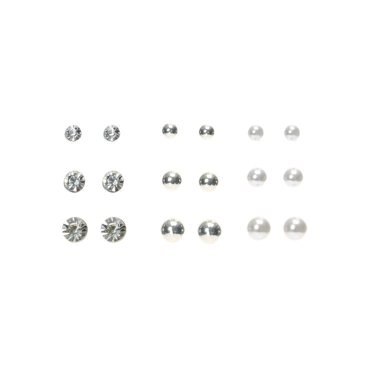 Lot de 9 boucles d'oreille aimantées avec strass et perles d'imitation,
