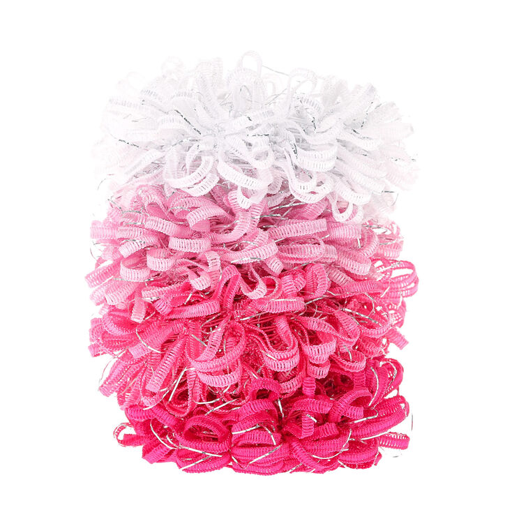 Petits chouchous bouclés d'un joli rose - Lot de 4,