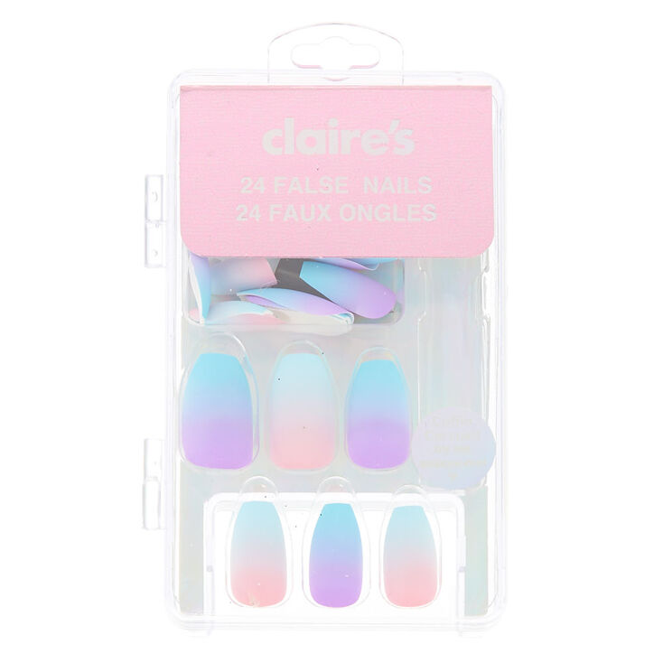 Bright Ombre Pastel Coffin Faux Nail Set - 24 Pack,