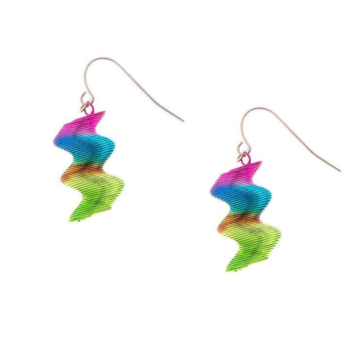 """Silver 1"""" Rainbow Coil Drop Earrings,"""