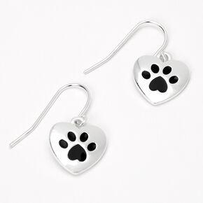 Silver 0.5'' Paw Print Drop Earrings,