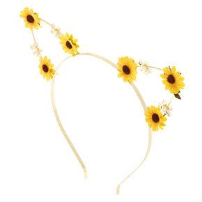Sunflower Cat Ear Headband - Yellow,
