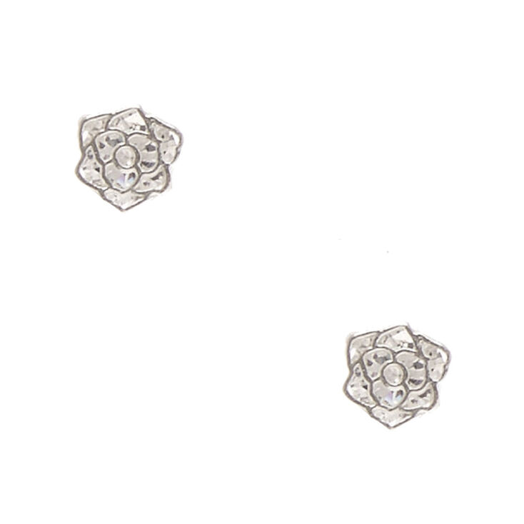 Sterling Silver Cubic Zirconia 5MM Rose Stud Earrings,