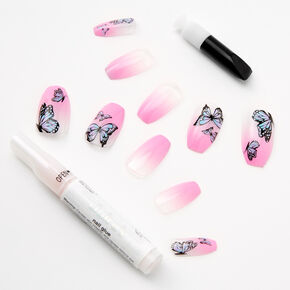 Butterfly Pink Ombre Glitter Coffin Faux Nail Set - 24 Pack,